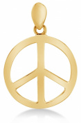 Solid 14K Yellow Gold Classic Peace Sign Ladies Pendant Charm