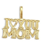 I Love You Mom Mother Pendant 14k Yellow Gold Charm