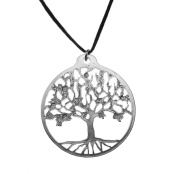 Silver Dipped Tree of Life Pendant Necklace on Adjustable Fibre Cord