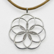 7 Rings of Peace silver dipped Pendant Necklace on adjustable length natural fibre cord