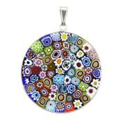 Murano Glass Millefiori Pendant in .925 Sterling Silver Frame 36mm