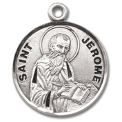 Sterling Silver Patron Saint St Jerome Catholic Religious Medal Pendant