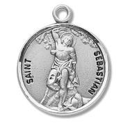 Sterling Silver Patron Saint St Sebastian Catholic Religious Medal Pendant