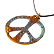Peace Symbol hand hammered bold iridescent Pendant Necklace on adjustable natural fibre cord