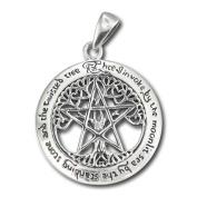 Sterling Silver Large Cut Out Tree Pentacle Pentagram Pendant by Dryad Design