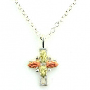 Pretty! Sterling-Silver Black Hills Gold 4 leaf Cross Pendant/necklace