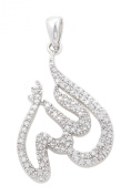 Stunning Sterling Silver and Cubic Zirconia Muslim Pendant