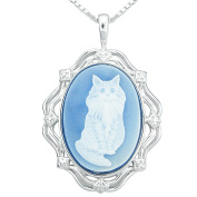 Sterling Silver Blue Agate Cat Cameo Pendant Necklace, 45.7cm