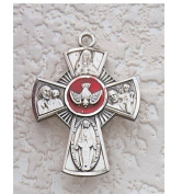 Sterling Silver Holy Spirit 4-Way Medal Confirmation with Gift Box