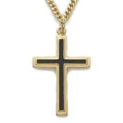 24K Gold Over Sterling Silver 2.5cm Polished Black Enamelled Cross Necklace on 61cm Chain