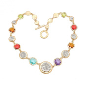 Gold Plated Colourful Round Stone Crystal Choker Necklace