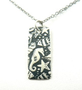 Sea Horse Reef Print Pendant Sterling Silver Necklace Seahorse Ocean Theme Jewellery