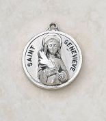 Sterling Silver Patron Saint Genevieve Medal Catholic Pendant Necklace Jewellery