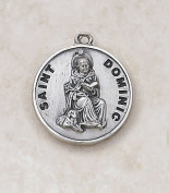 Sterling Silver Patron Saint Dominic Medal Catholic Pendant Necklace Jewellery