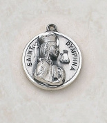 Sterling Silver Patron Saint Dymphna Medal Catholic Pendant Necklace Jewellery
