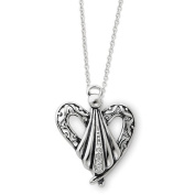 Sterling Silver Antiqued Angel of Friendship 45.7cm Necklace