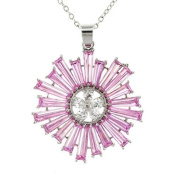 Exciting Flower of Fire Pendant - Pink Sapphire & White CZs