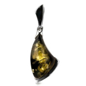 Sterling Silver Green Amber Contemporary Triangular Pendant