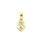 14K Yellow Gold Interlocking Hearts CZ Cubic Zerconia Charm Pendant