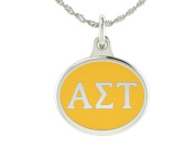Alpha Sigma Tau Sorority Charm Pendant. Solid Sterling Silver with Enamel