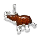Sterling silver and cognac amber, elephant-shaped pendant on 46cm sterling silver chain