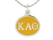 Kappa Alpha Theta Sorority Charm Pendant. Solid Sterling Silver with Enamel