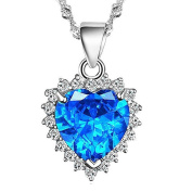 Chaomingzhen Charm Rhodium Plated 925 Silver Blue Zircon Heart of the Ocean Pendant Necklace From Titanic Necklace for Women Elegant. Fashion Jewerly for Girlfriend 45.7cm