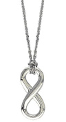 "17"" Total Length Small Flowing Infinity Charm with Knotted Chain,9mm x 20mm in Sterling Silver"