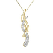 Platinum Plated Yellow Plated Sterling Silver Round Diamond Twisted Fashion Pendant
