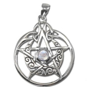 Sterling Silver Crescent Moon Pentacle Pentagram Pendant with Circle and Rainbow Moonstone by Dryad Design