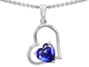 Original Star K(tm) 8mm Heart Shape Created Sapphire Pendant in .925 Sterling Silver