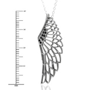 Sterling Silver Black Angel Feather Wing Black Diamond Pendant Necklace-0.10 carat