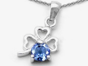 Celtic Love by Kelly Round Simulated Aquamarine Lucky Clover Pendant in 925 Sterling Silver