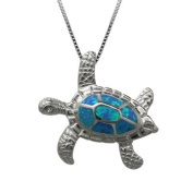 Turtle Necklace Pendant with Blue Opal in Sterling Silver and 45.7cm Chain