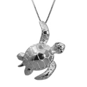 Sterling Silver Turtle Honu Necklace Pendant with Box Chain