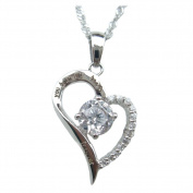 """Chaomingzhen Charm Rhodium Plated Cz Diamond Sterling Silver """"You Hold My Heart Forever"""" Open Heart Pendant Necklace for Women with Chain45.7cm"""