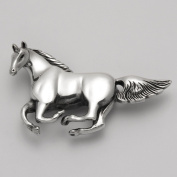 Sterling Silver Galloping Horse Pin and Pendant Combo