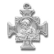 Sterling Silver Patron St Saint Francis Cross Crucifix Pendant Medal