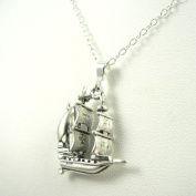Pirate Galleon Sterling Silver Ship Charm Necklace Ocean Theme Jewellery