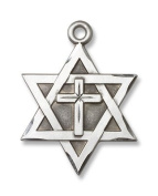 Sterling Silver Star of David with Cross Medal Pendant With 61cm Stainless Steel Chain