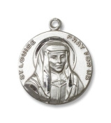 Round Sterling Silver St. Louise Medal Pendant with 61cm Stainless Steel Chain
