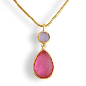 Cast Artisan Glass & Gold-Plated Tear-Drop Pendant Necklace - Pink and Lavender
