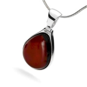 Sterling silver and teardrop-shaped, cherry amber pendant on 46cm sterling silver chain
