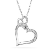 Sterling Silver Round Diamond Double Heart Pendant