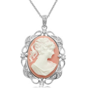 Sterling Silver Pink Cameo with Created White Sapphire Pendant Necklace, 45.7cm