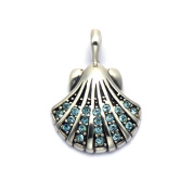 Sterling Silver Scallop Shell Pendant with. Aqua Cubic Zirconia