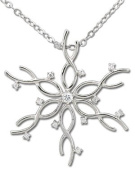 Rhodium Plated Sterling Silver Cubic Zirconia Snowflake Pendant with 45.7cm Cable Chain
