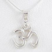 Calligraphy Style Om (Aum) Pendant in Sterling Silver on 40.6cm Snake Chain, #8455