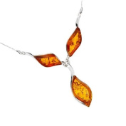 Sterling silver and leaf-shaped, cognac amber necklace on 46cm sterling silver chain