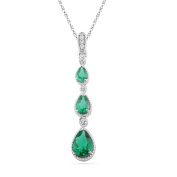 Platinum Plated Sterling Silver Pear Lab Create Emerald and Round Diamond Fashion Pendant